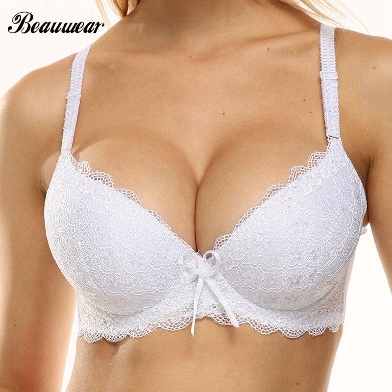 Beauwear Super Push Up Deep V Bra Women Sexy Lingerie 3/4 Cup Brassiere Lace Underwired Underwear Bras for Big Breast 38-44