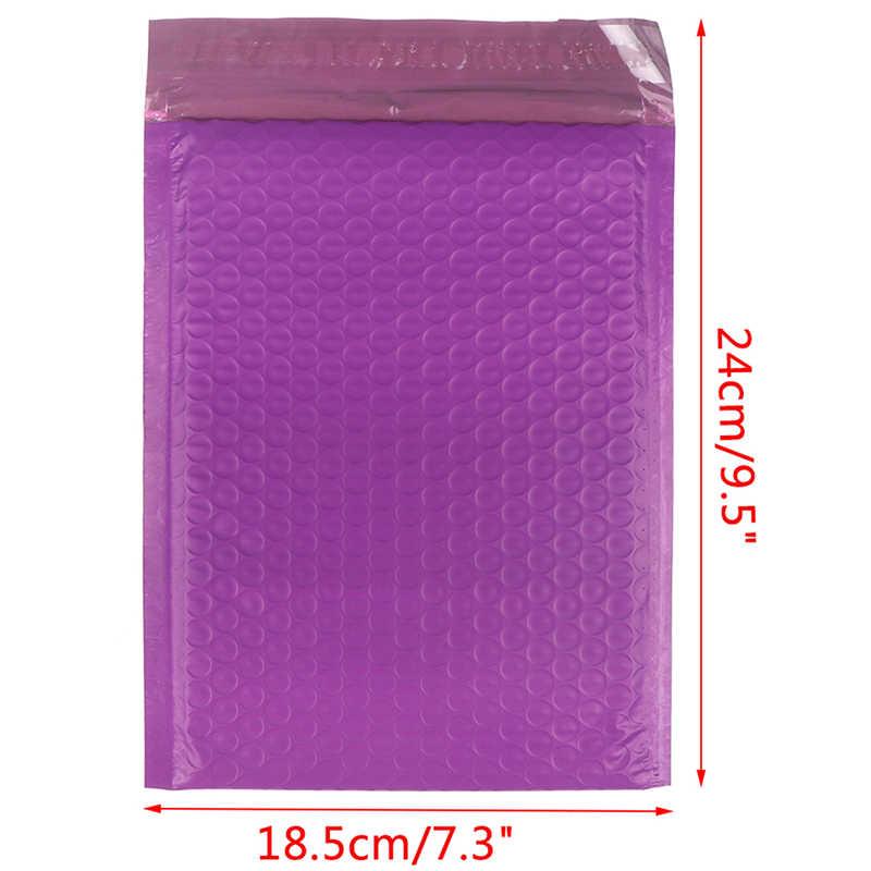 10ピース/ロット使用可能なスペース郵送袋自己シールパッキング紫ポリバブルメーラー封筒パッド付き