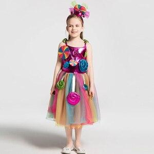 Image 5 - Школьные костюмы для девочек; детское трикотажное платье ярких цветов радуги; детское бальное платье из тюля с повязкой на голову
