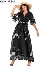Knowdream vestidos chiffon impresso v-neck alargamento manga rendas até vestido longo saia vestido de aniversário das mulheres mais tamanho vestido ruched