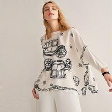 Blouse Women Top Plus Sizes Simple Design 100% Silk Patch Modal O Neck Drop shoulder Modal Sleeves Loose Top New Fashion