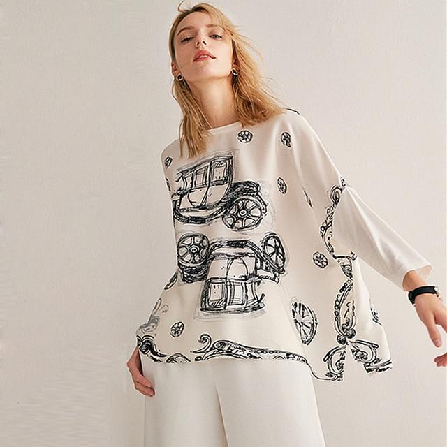 Bluz kadın üst artı boyutu basit tasarım 100% ipek yama Modal O boyun bırak omuz Modal kollu gevşek üst yeni moda