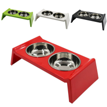 Melamine Double Bowl Stainless Steel Pet Feeder Cat Dog Feeding Food Dishes Puppy Kitten Drinking Water Bowls Pets Supplies dog double bowl puppy food water feeder cute stainless steel pets drinking dish feeder pets supplies feeding dishes dogs bowl