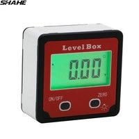 Eletrônico transferidor inclinômetro caixa chanfrada ângulo finder digital inclinômetro com luz de fundo ângulo medição calibre|Transferidores| |  -