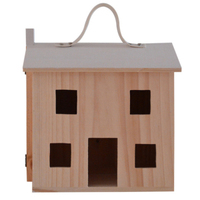 Wooden Pretend Play Doll House Toy Playset Portable Dollhouse Toddler Girls Kids' Toy with Family Pets