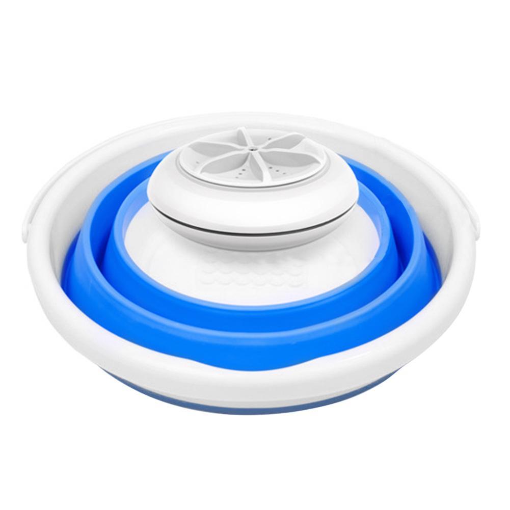 Mini Portable Ultrasonic Turbine Washing Machine Foldable Bucket Shape USB Laundry Clothes Washer Cleaner For Home Travel