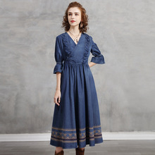 Women's Spring 2021 New Waist-Closed Embroidered Denim Skirts, Retro Lacing Midlength Dresses