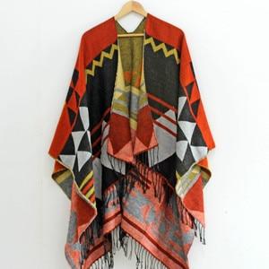 Image 5 - RANAWEELA Women Geometric Printed Shawl With Tassel Open Front Poncho Cape Cardigan Wrap Shawl For Winter Pashmina Ruana Female