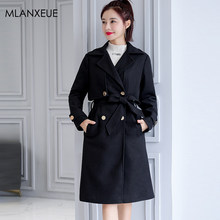 Solid Long Wool Blends Coat Women Plus Size Double-Breasted Turn-down Jackets Female Korean Loose Warm Thick Vintage Woolen Coat(China)