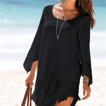 Plus size O neck Lace Patchwork Mini Beach dress Sexy Tunic for Beach 2020 vestidos cortos Casual Dress White Black Women Dress 1