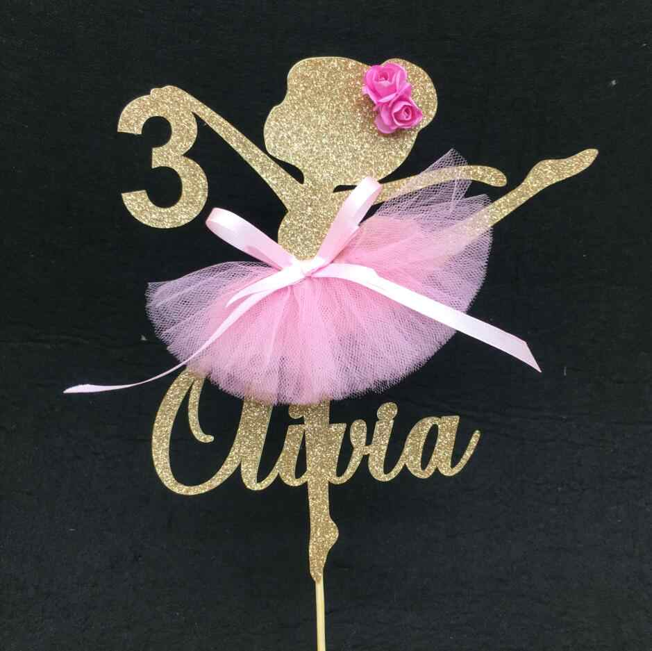 name pink cake topper dancer gilded Decoration age kids birthday party Cake