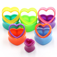 1Pair Acrylic Double Flared Love Heart Hollow Flesh Tunnel Ear Plug Piercing Expander Jewelry Earlet Gauges Earrings Body Jewelr 2x 316l surgical steel ear flesh tunnel plugs anodized without thread double flared hollow screw ear expander gauge body jewelry