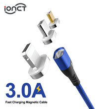 Ionct Kabel 3A Cepat Pengisian untuk Iphone Ipad Xiaomi Samsung Android Ponsel Magnet Charger Micro USB Tipe C kabel data(China)