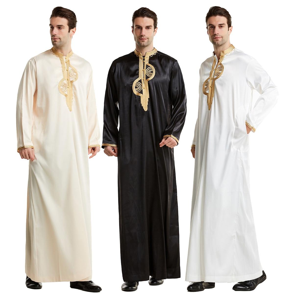 Dubai Arabic Turkey Silk Sliding Muslim Robe For Men Saudi Arabia  Kaftan Caftan Embroidery Long Islamic Jubba Thobe Man Cloth