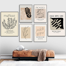 Nordic Retro Matisse Picasso Canvas Poster Print Abstract Plant Leaves Painting Wall Art Pictures Livingroom Interior Home Decor