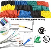 164 pièces thermorésistant tube thermorétractable emballage kit, termoretractil rétrécissement tube assortiment fil câble isolation gaine