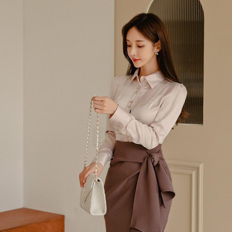 Set 2019 Autumn And Winter New Products Debutante Slim Fit WOMEN'S Blouse + Elegant Fashion Skirt Two-Piece Set