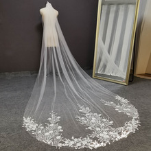 Real Photos Lace Wedding Veil 3 Meters Long 1.5 Meters Wide One Layer White Ivory Bridal Veil with Comb Wedding Accessories