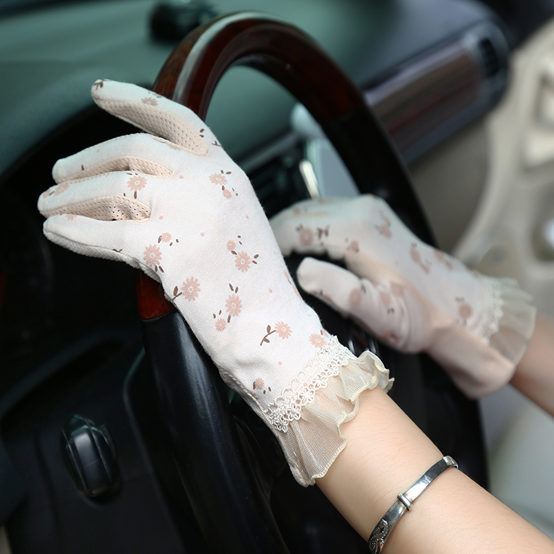 Driving-Gloves Guantes Touch-Screen Women's New-Fashion Summer Breathable UV Cotton Non-Slip-Block
