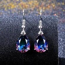 1 par de simples e elegante estilo bonito sete cores brincos presente da namorada brincos arco-íris