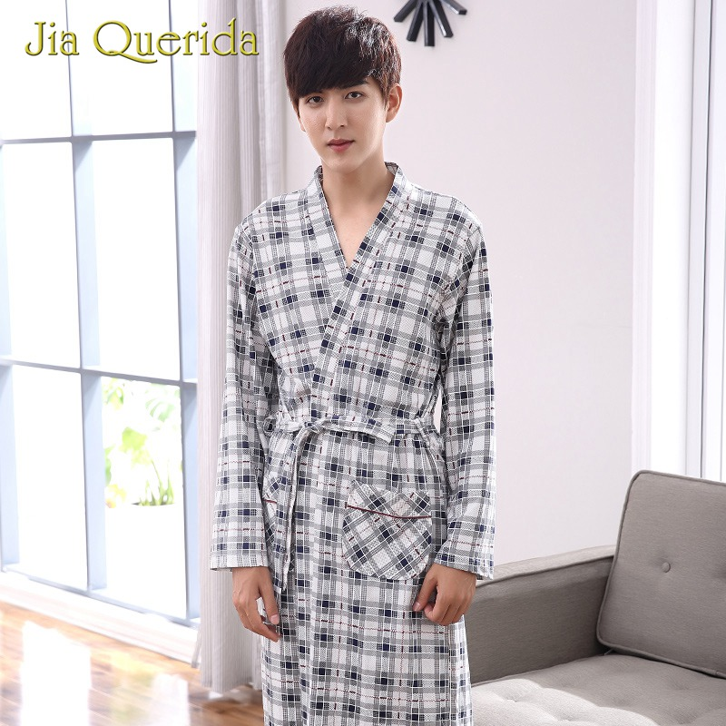 Bathrobe For Men Kimono Robe 100% Cotton Lattice Laple Pocket Plaid Knitted Bath Blush Robes Male Long Sleeves Robs Nightgown