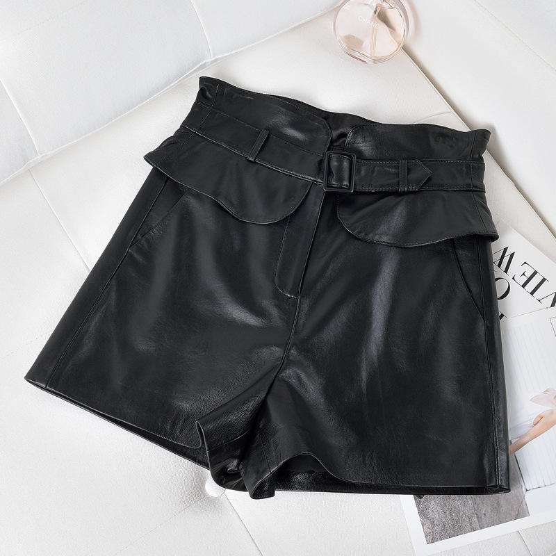 New Fall And Winter 100%  Leather Broad Legged Shorts Woman Sheepskin  Version Loose Leisure Leather  Shorts