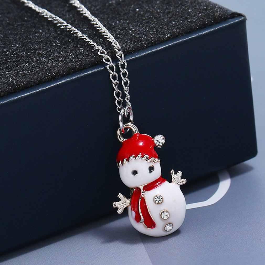 Милый мультфильм падение масляного цвета Санта Снеговик Рождественский подарок серьги ожерелье набор профессиональный модный портативный