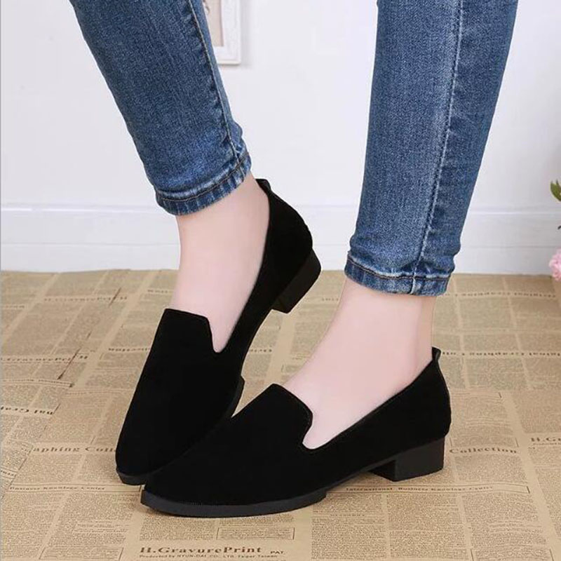 QSR 5 Colour 2019 New Suede Round Head Lazy Single Shoes Low Heel Shallow Mouth With Casual Comfortable Women's Shoes
