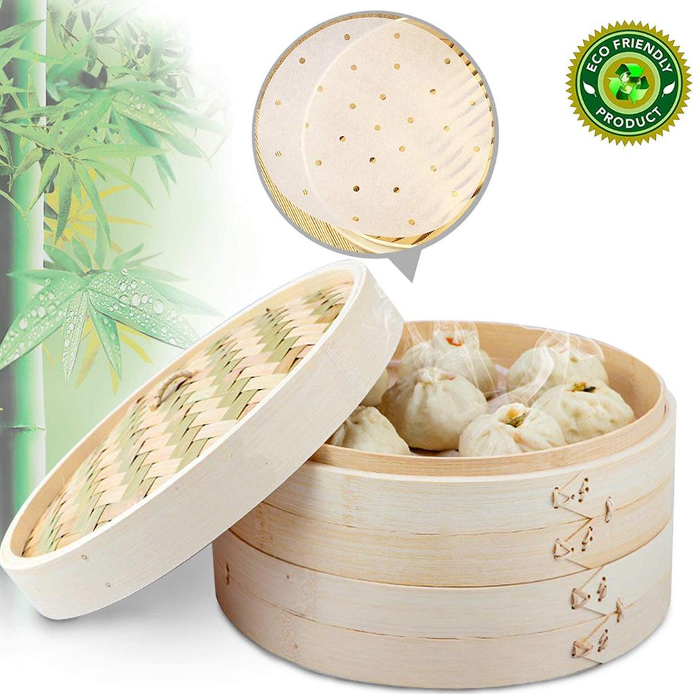 2 Tier Bamboo Steamer 2 Tier Handmade Durable Stackable Steamer For Vegetables Meat Fish Dumplings For Kitchen Tool