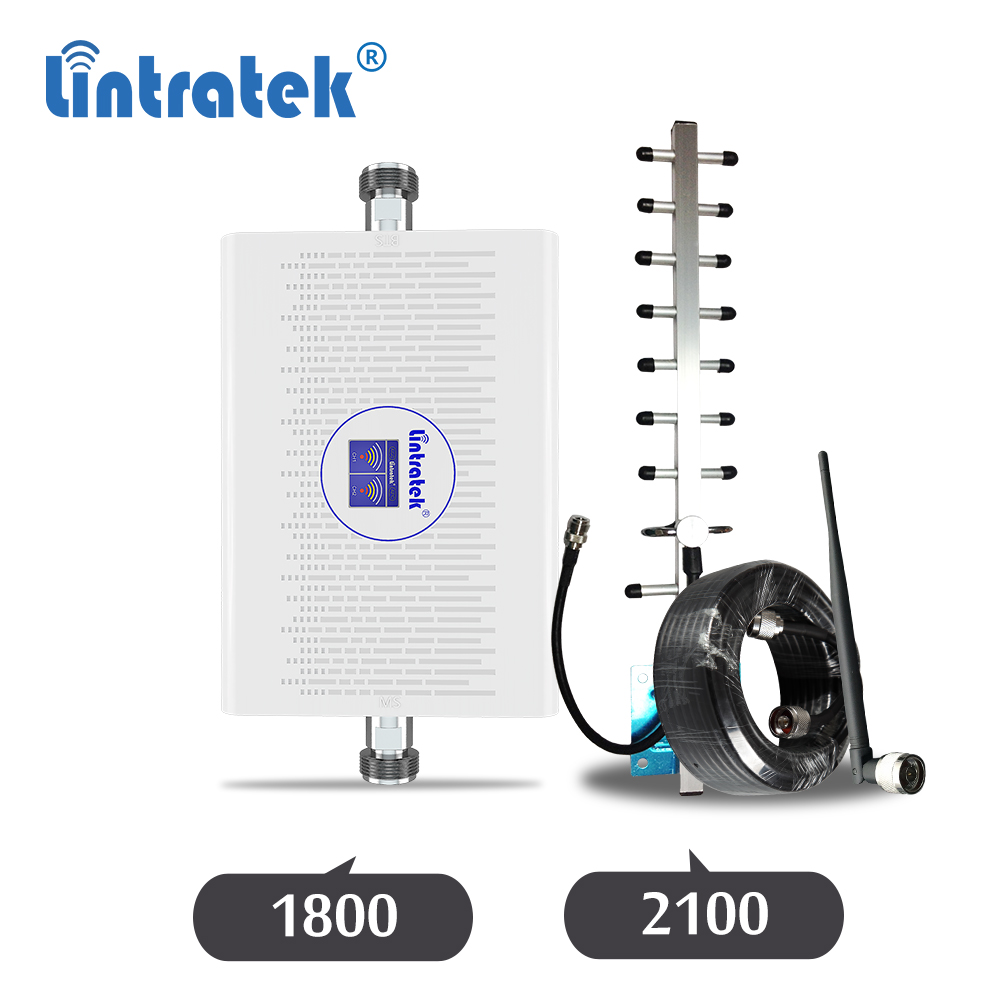 Lintratek 3G 4G 1800 2100 Cellular Amplifier Wcdma UMTS 3G 2100mhz 1800mhz 4g LTE DC Signal Repeater Yagi Antenna Booster Kit Dj