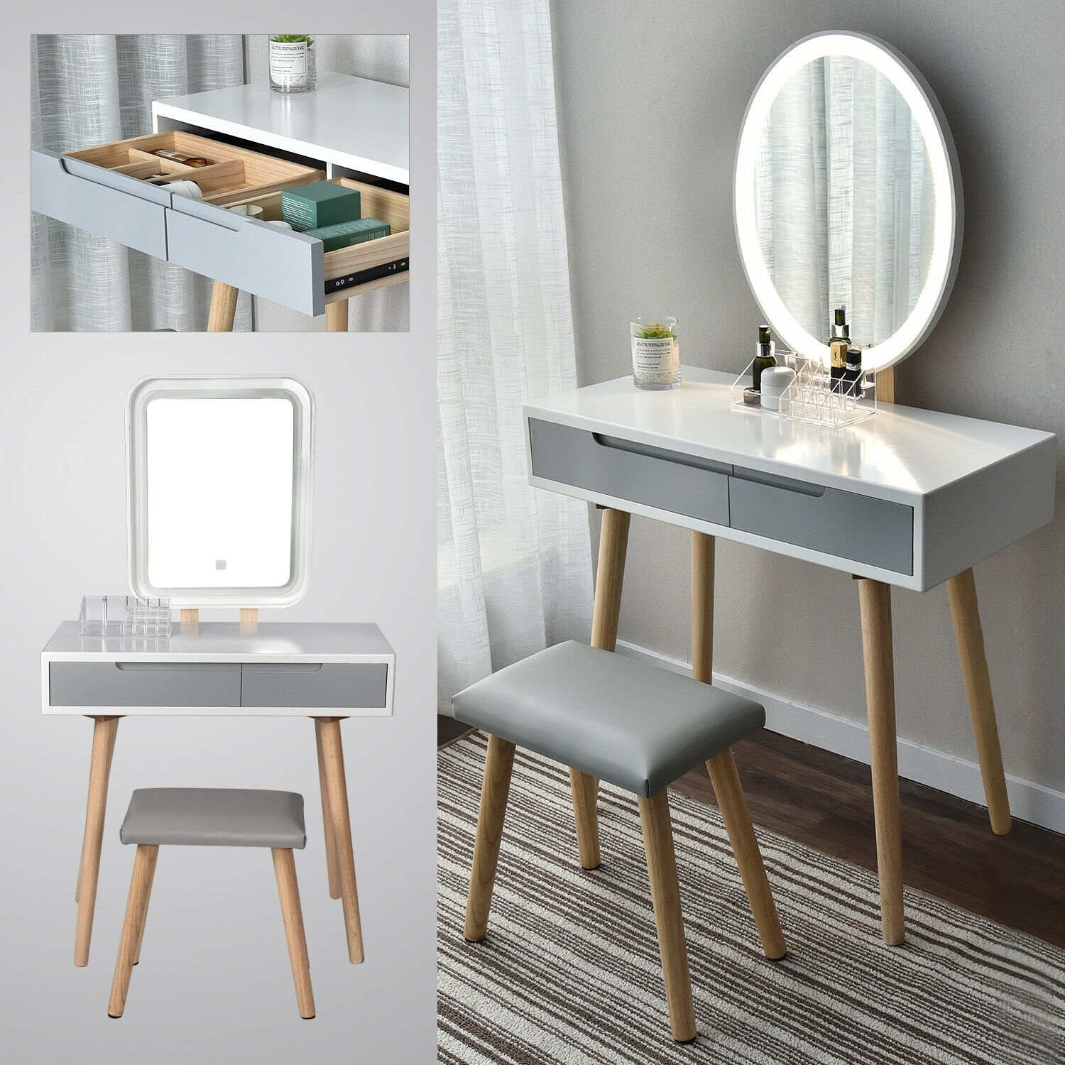 2 Drawers Vanity Makeup Dressing Table Set Jewelry Wood Desk W/Stool Led Mirror