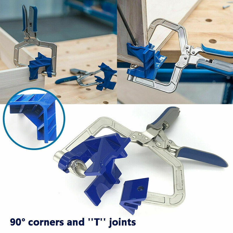 New Auto adjustable 90 Degree Right Angle Woodworking Clamp Quick Clamp Pliers Picture Frame Corner Clip Hand Tool T ClampClamps   -