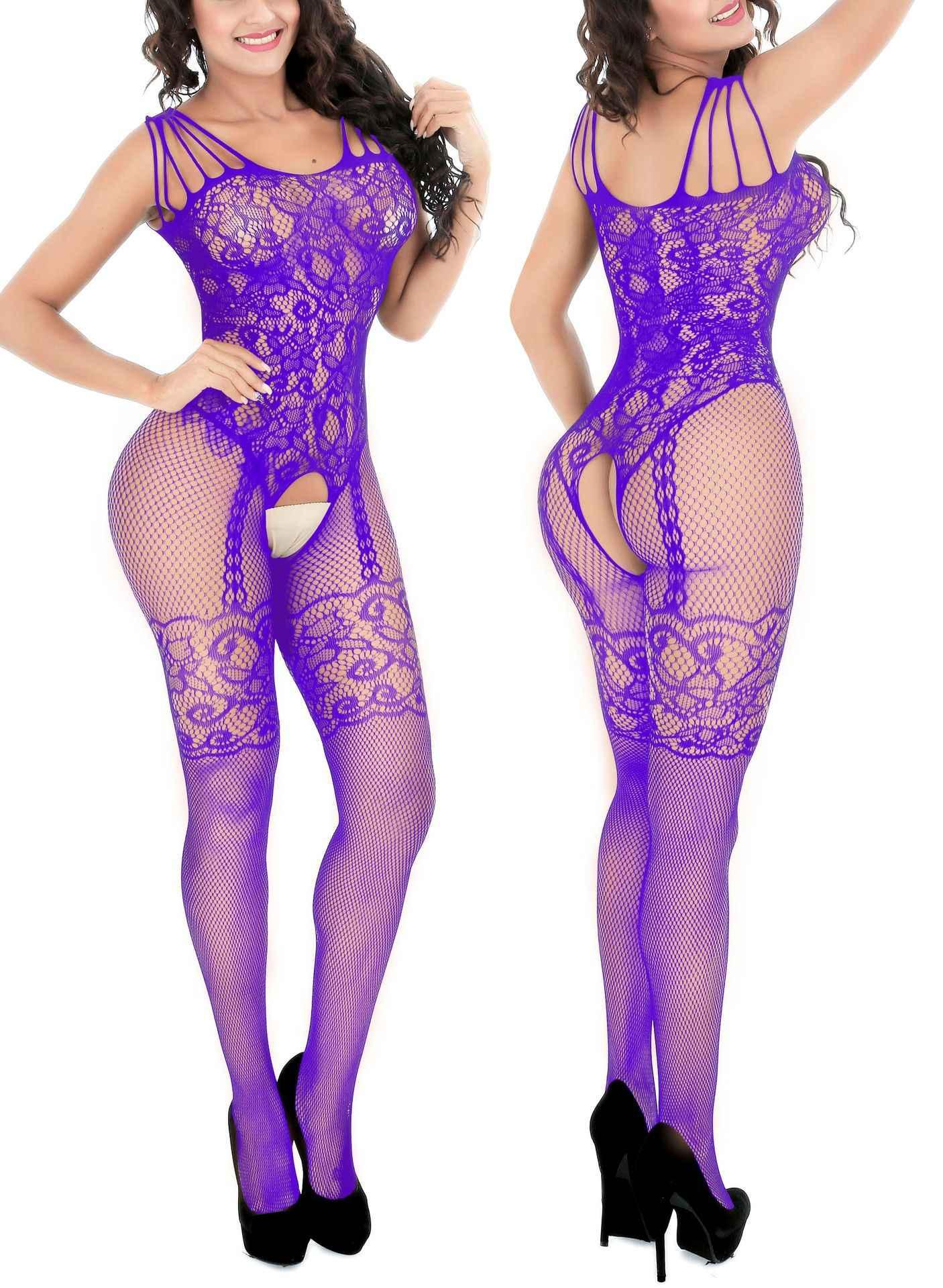 Sexy Fishnet Bodysuit mujer Jacquard ver a través de la entrepierna abierta cuerpo medias malla hueco talla grande Lencería disfraces eróticos