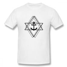Creative Anchor Casual O-Neck Men's Basic Short Sleeve T-Shirt 100% Cotton Tee Shirt Printed boat neck basic tee