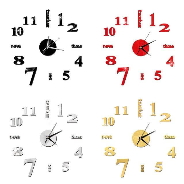 DIY Wall Clock 3D Mirror Clock Creative Acrylic Wall Stickers Living Room Quartz Needle Europe horloge Home Decor Drop shipping 6