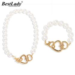 Best Lady Fashion Pearls Heart Necklaces Jewelry Sets for Women Bohemian Strand Collar Choker Necklaces Cute Bracelets  Jewelry