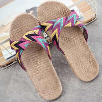 2019 summer linen home slippers ladies shoot beach slippers slip unisex family slippers thick bottom indoor sandals and slippers