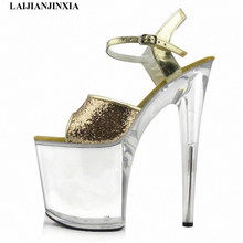 LAIJIANJINXIA New gold/silver glitter high heels 8 inch white flowers wedding shoes clear platform Crystal shoes party Shoes(China)
