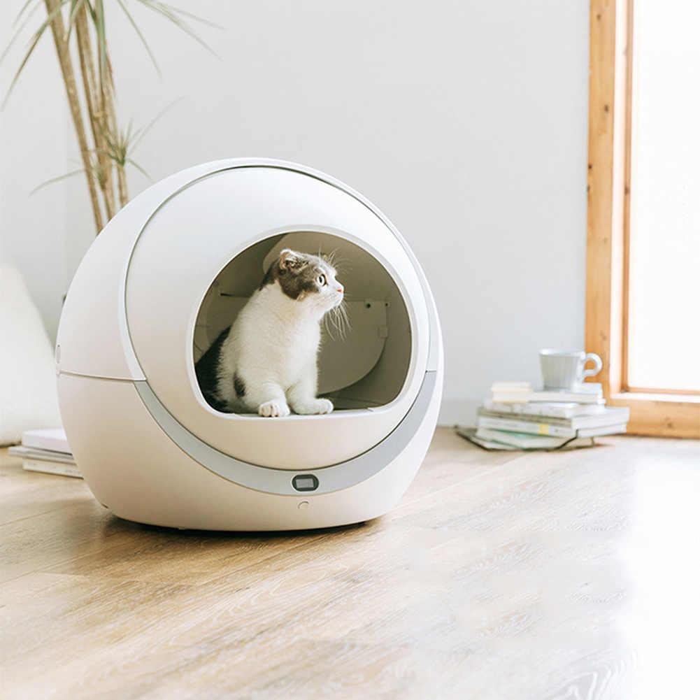 Otomatik kendi kendini temizleyen kediler kum akıllı kum kabı kapalı tepsi tuvalet döner eğitim ayrılabilir yatak evcil hayvan aksesuarları