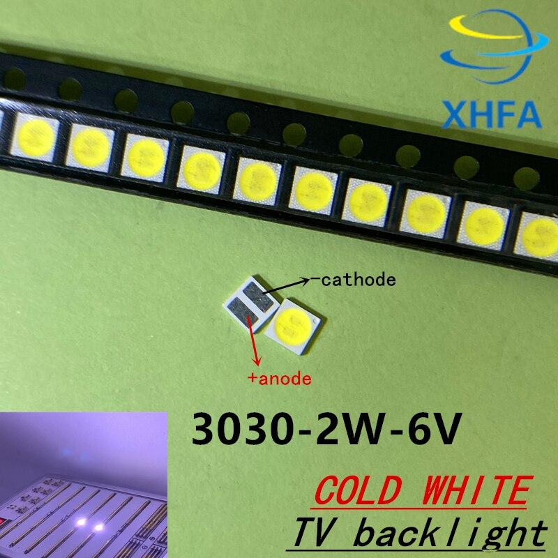 100 шт. Lextar хорошей устойчивостью к высокой Мощность светодиодный Подсветка 1,8 Вт 2 3030 6 V холодный белый 150-187LM PT30W45 V1 ТВ Применение 3030,
