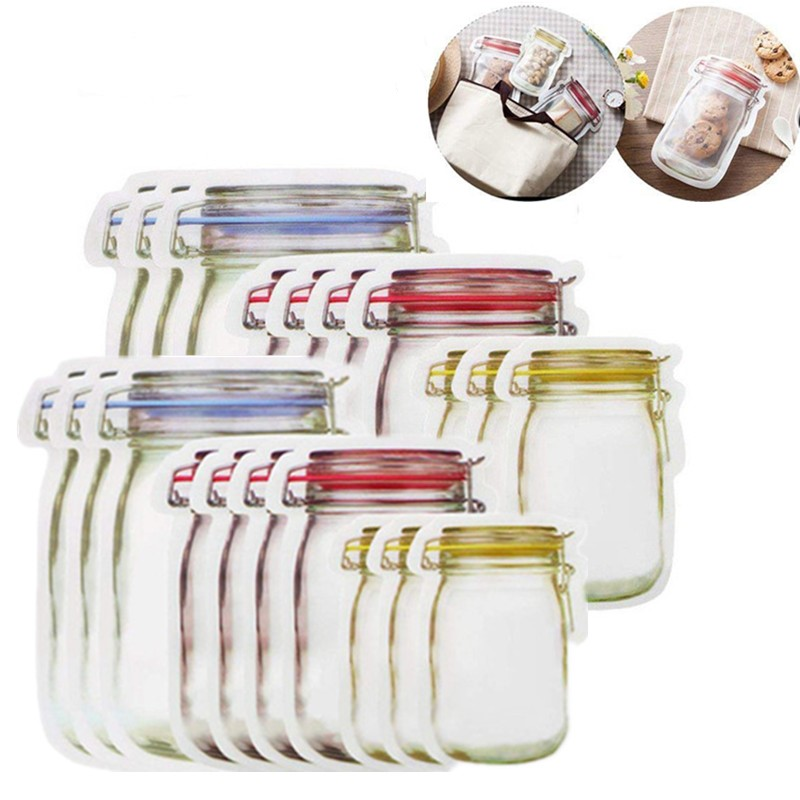 Waterproof Reusable Mason Jar Bottles For Travel Camping Picnic Fresh Food Storage Bags Sealed Snacks Organizer Outdoor Tool