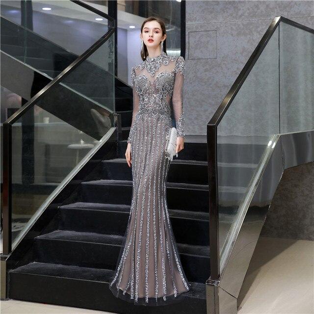 우아한 높은 목 인어 크리스탈 댄스 파티 드레스 이브닝 파티 가운 슬림 장착 블링 블링 이슬람 터키 특별 행사 드레스