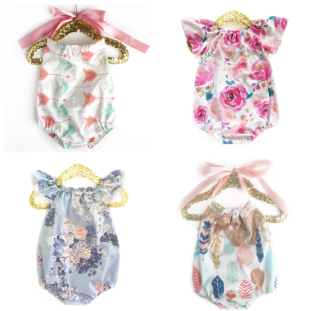 Summer Girls Baby Sling  Naked Back Romper Newborn New Design Cotton Flower Print Romper Boy Clothing Rainbow Triangle Jumpsuits