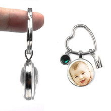 Personalized Heart-shaped Keychain Loved One Photo Your Baby Child Mom Dad Pendants Custom Grandparent Gift Family Member Gift(China)