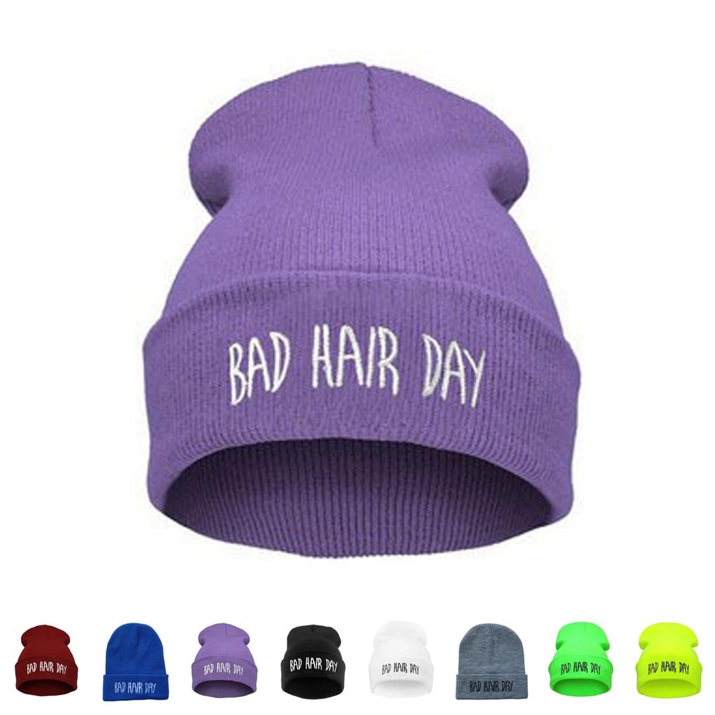 Fashion New Unisex Women Mens Winter Bad Hair Day Snap Back Beanies Hat Knit Hip Hop Sport Warm Ski Cap