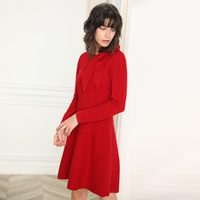 LHZSYY 2019 Autumn Winter New Womens Long Section 100% Pure Wool Dress Solid Color High-grade Bow Collar Warm Knit Slim Sweater