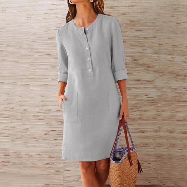 Casual Autumn Cotton Linen Dress 2019 Fashion Button O-Neck Knee Party Dress Women Long Sleeve Pocket Solid Dresses Plus Size