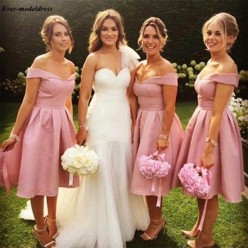 Pink Short Bridesmaid Dresses Knee Length Off Shoulder Lace Up Back Simple Wedding Guest Gowns Prom Party Gowns 2019
