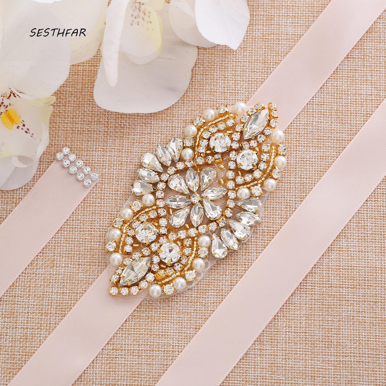 Wedding Accessories Crystal Wedding Belt Satin Rhinestone Evening Prom Dress Belt Bridal Ribbon Sash J171G
