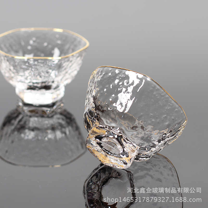 Hammer Mesh Pattern Crystal Glass Teacup Wine Glass Heat-Resistant Transparent Kung Fu Tea Set Six-Party Cup